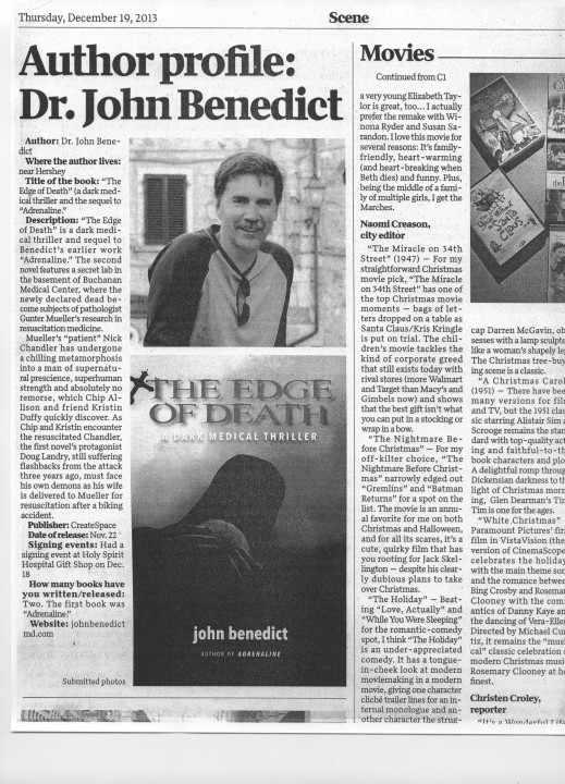 Author Profile in the Sentinel on December 19, 2013